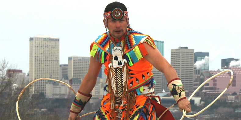 Dallas Arcand, traditional Indigenous Hoop Dancer