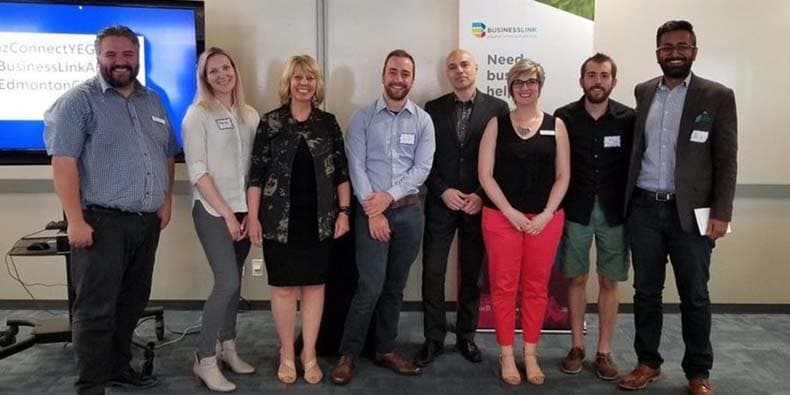 Group of presenters for Business Link BizConnections marketing event