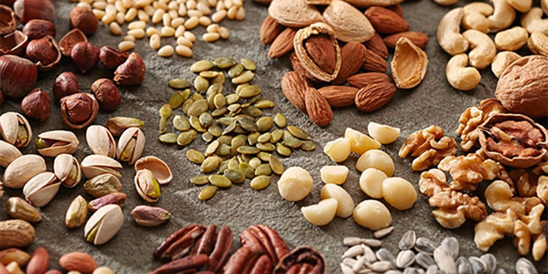 Groupings of various types of nuts